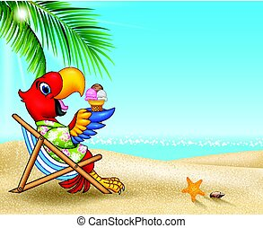 Summer background with parrot eating ice cream