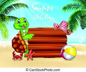 Summer background with turtle and blank sign
