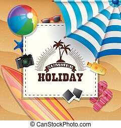 Summer beach background with holiday sign concept