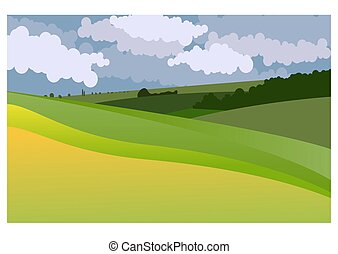 Vector illustration of summer country landscape with a green hills and blue sky