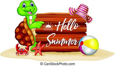 Summer holiday with cartoon turtle and wooden sign - Vector...