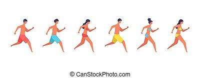 Vector illustration of summer people are running.