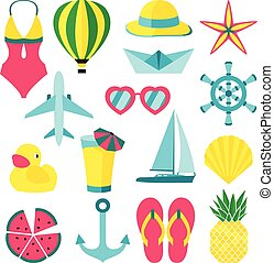 Vector illustration of summer symbols ans objects