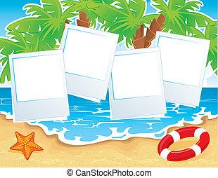 Summer tropical banner - Vector illustration of Summer...