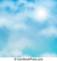 Sun and clouds on a blue sky