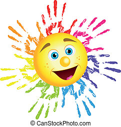 sun from hand prints - Vector illustration of sun from hand ...