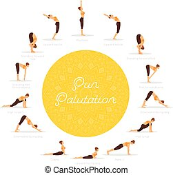 Sun Salutation (Surya Namaskara) - Vector illustration of...