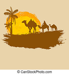 Vector illustration of sunset in african desert. Camel and palms on grunge background