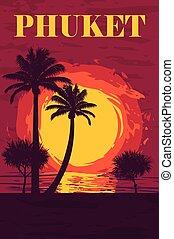 vector illustration of sunset over the ocean on Phuket island