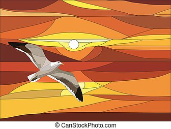 Vector illustration of sunset with clouds in stained glass...