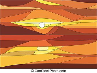Vector illustration of sunset with clouds in stained glass window.