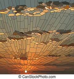 Vector illustration of sunset with clouds.