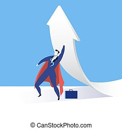 Vector illustration of super businessman, flat style design