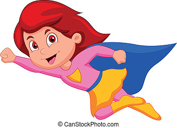 Super girl cartoon - Vector illustration of Super girl...