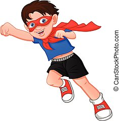 Super hero boy posing on a white background