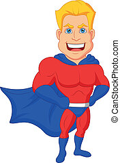 Superhero cartoon posing - Vector illustration of Superhero...