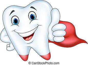 Superhero tooth cartoon with thumb