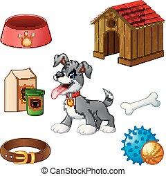 Supplies for dog cartoon