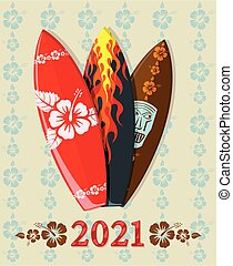 Vector illustration of surf boards with 2021 floral text
