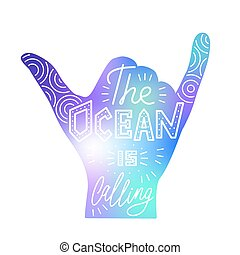 Vector illustration of surf hand. Silhouette isolated on white. Quote inspiration. Lettering design. Typography