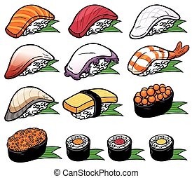 Sushi - Vector Illustration of Sushi set