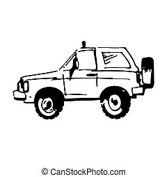 Vector illustration of suv car in sketch style. Hand sketched off-road vehicle icon.