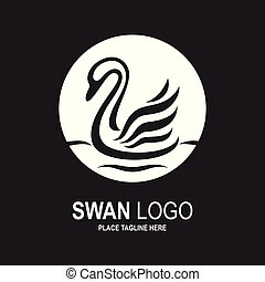 Swan icon design template. Black and white swan icon