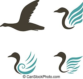 Swan icons isolated on white backgr