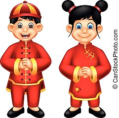 sweet boy and girl cartoon standing using chinese costume with smiling