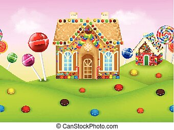 Sweet candyland with gingerbread house - Vector illustration...
