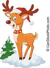 Sweet Christmas deer cartoon - Vector illustration of Sweet...