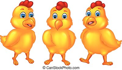 sweet little chick cartoon standing with smile and hugging