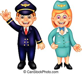 sweet pillot and flight attendant cartoon standing with smiling and waving