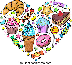 sweets - Vector illustration of sweets in the shape of heart...