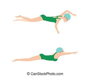Vector illustration of swimming style scheme different swimmers man and woman in pool sport exercise.
