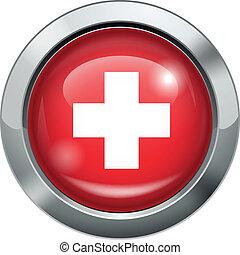 Switzerland flag metal button