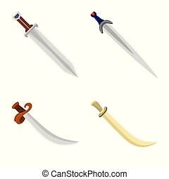 Vector illustration of sword and dagger icon. Collection of sword and weapon stock symbol for web.