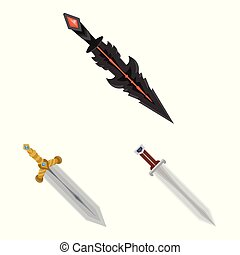 Vector illustration of sword and dagger icon. Set of sword and weapon stock symbol for web.