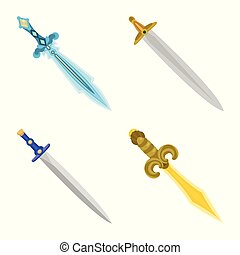 Vector illustration of sword and dagger logo. Collection of sword and weapon stock symbol for web.