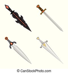 Vector illustration of sword and dagger logo. Set of sword and weapon vector icon for stock.