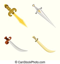 Vector illustration of sword and dagger sign. Collection of sword and weapon stock symbol for web.