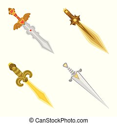 Vector illustration of sword and dagger sign. Set of sword and weapon stock symbol for web.