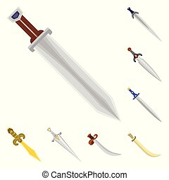 Vector illustration of sword and dagger symbol. Collection of sword and weapon stock symbol for web.