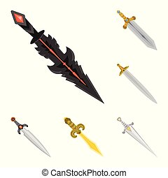 Vector illustration of sword and dagger symbol. Set of sword and weapon vector icon for stock.