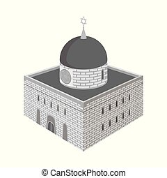 Vector illustration of synagogue and judaism symbol. Collection of synagogue and jewish stock symbol for web.