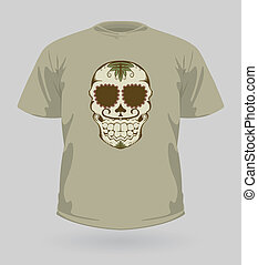 Vector illustration of t-shirt with brown Sugar Skull