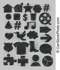 Tag icon pen shading effect set