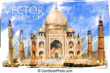 Vector Illustration of Taj Mahal, India. Watercolor style.