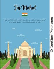 Taj Mahal mausoleum in Agra - Vector illustration of Taj...