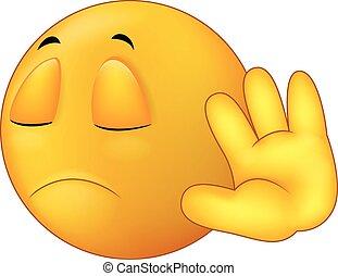 Vector illustration of Talk to my hand gesture, smiley emoticon cartoon